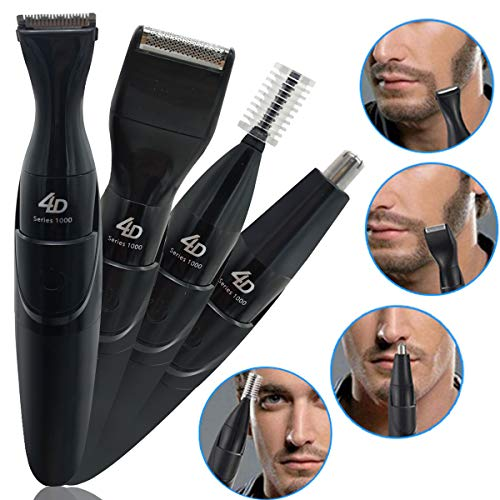 Beard Trimmer Mustache Shaver for Man Hair Clippers and Shavers Cordless Electric Face Nose Ear Eyebrow Trimmers 4 IN 1 Men's Grooming Kit Facial Hair Removal with 3 Size Combs- Wet and Dry Using - Grooming 1 Comb 4in