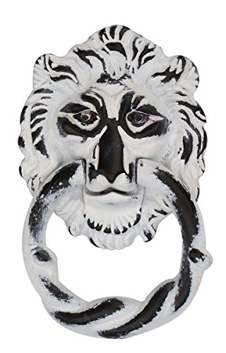 Javi Lion Head Door Knocker Handmade in Iron with Distressed-Finish Door Accessories for Home Decor (White) by Javi