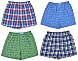 Original Penguin Boys' 4-Pack Woven Boxer Shorts,Signature Penguin Print / Assorted Plaids 2,Large / 14-16