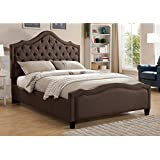 Milton Greens Stars Romilly Tufted Linen Platform Bed with Adjustable Headboard, Queen