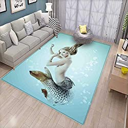 Mermaid Girls Bedroom Rug Floating Mermaid with Water Bubbles Underwater Mythology Artwork Print Bath Mats for Floors Seafoam Beige Brown