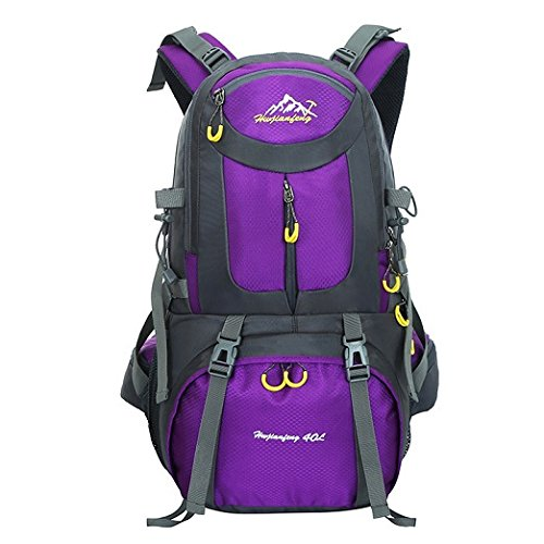Hiking Backpack Waterproof Daypack Travel Fishing Climbing Camping (Purple-40L)