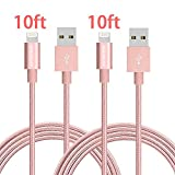 iPhone Charger, JOOMFEEN 2Pack 10FT Extra Long Nylon Braided 8pin Lightning to USB Cable Charging Cord for iPhone 7/7 plus/6/6s/6 plus/6s plus, 5c/5s/5/SE, iPad Air/Mini, iPod Nano/Touch (Rose Gold)
