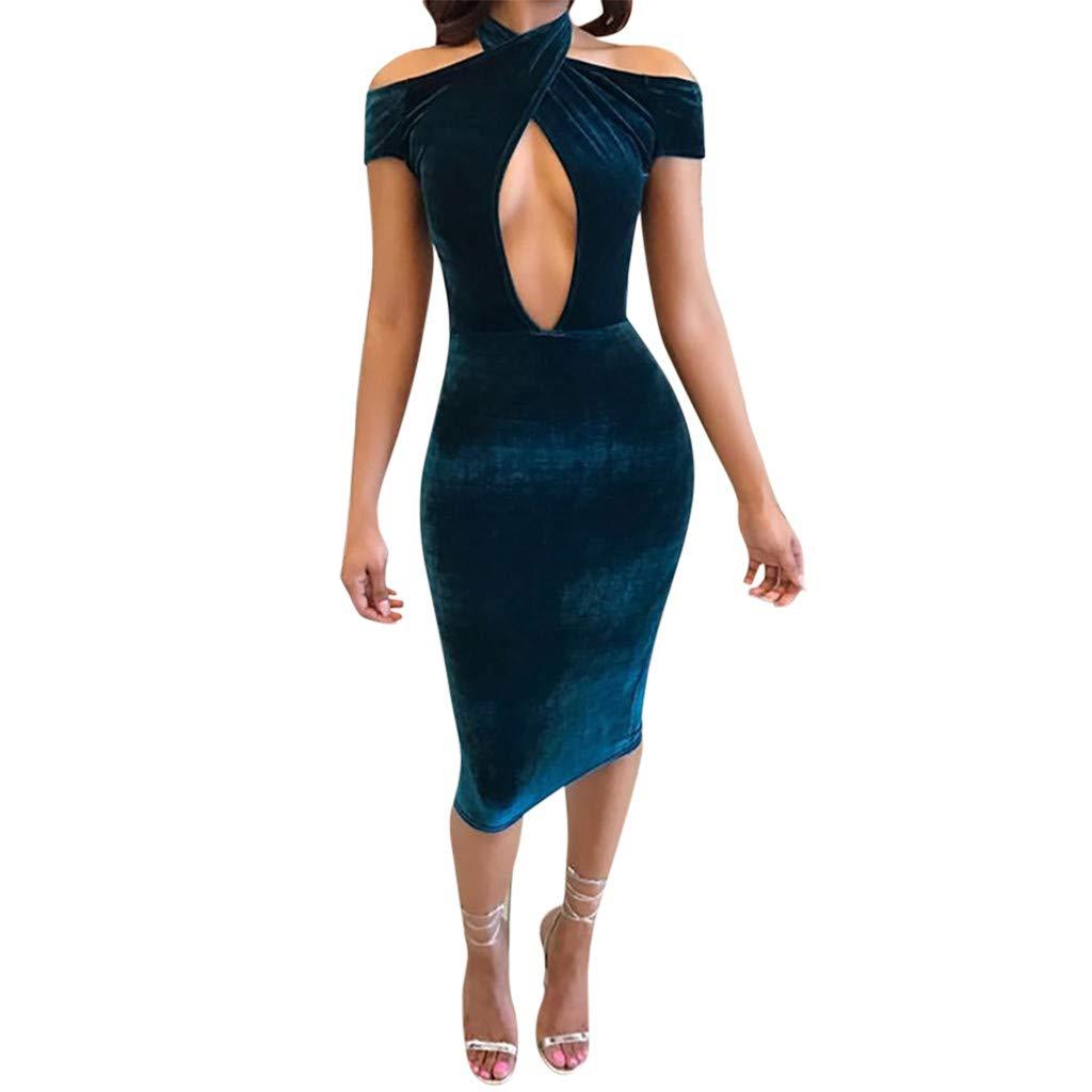 Dianli Women's Sexy Dress, Solid Color Tight Short Sleeve Off Shoulder Slim Dress Ladies Sexy Nightclub Dress