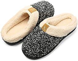 Eagsouni Memory Foam Hausschuhe Damen Herren Winter Wärme Pantoffeln Bequem Plüsch Fleece Gefüttert rutschfeste Haus...
