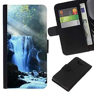 Planetar® Modelo colorido cuero carpeta tirón caso cubierta piel Holster Funda protección Para Samsung ALPHA / SM-G850 / S801 ( Waterfall )