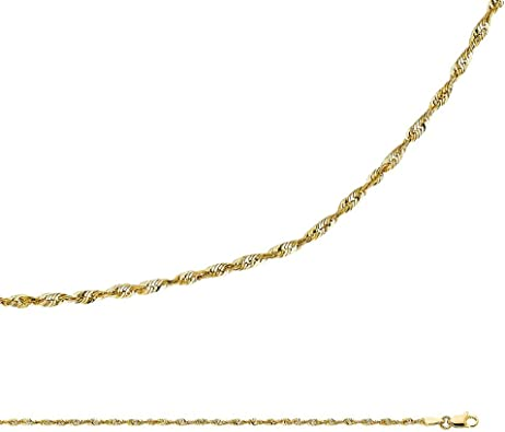 14K Yellow OR White Solid Gold 0.8mm Square Wheat Diamond Cut Chain Necklace with Lobster Clasp Ioka