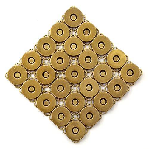 25 Sets Bronze Sew in Magnetic Bag Clasps Button Snaps Tone Purse Great for Closure Handbag Clothes Sewing Craft No Tools Required Plum Blossom 14mm (Bronze)