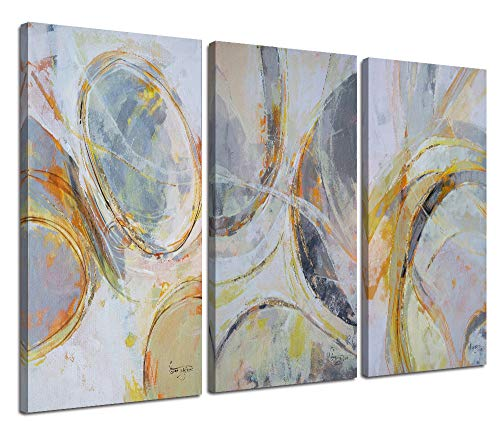 Canvas Wall Art Abstract Circle Stripes Painting Prints Modern Vertical Blocks 3 Panels Pictures, Brown Artwork Wood Framed for Living Room Bedroom Home Office Kitchen Decor Original Design - Canvas Grey Stripe