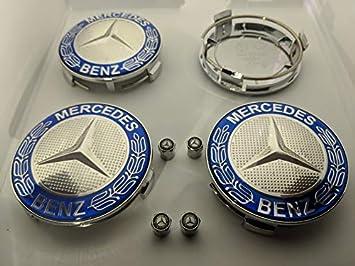 ETYN 4 tapacubos de aleación para Mercedes Benz con Insignias de 75 mm, Emblema Azul con Tapas de Polvo de Mercedes Gratis: Amazon.es: Coche y moto