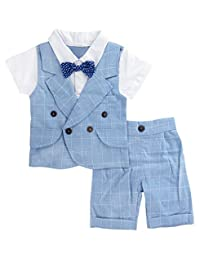 Mombebe Baby Boys Gentleman Suits with Bow Shorts Set