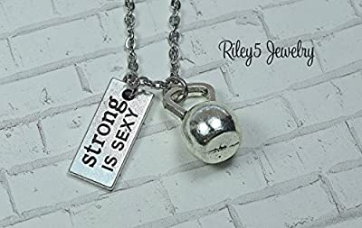 Strong is Sexy Kettle bell Necklace Jewelry Personal Trainer, Workout Exercised, Weightlifting - Bodybuilding - Coach - kettlebell