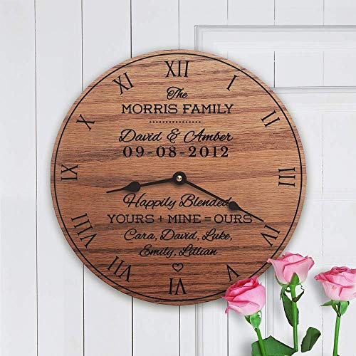 Personalized Solid Oak Clock Wedding Gift For Second Marriage - Blended Family by Story Cabin