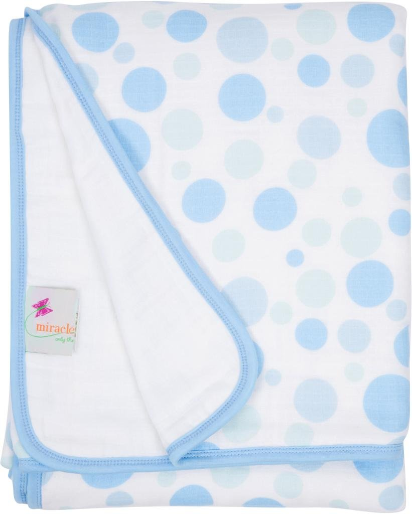 Miracle Blanket Serenity Blanket: Muslin Swaddle Blankets + Baby Receiving Blankets + Baby Blanket - Blue Circles