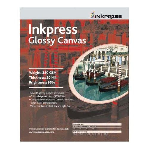 Water Resistant Inkjet Canvas - Inkpress Glossy Canvas, Waterproof, Stretchable, Bright White Glossy Inkjet Cloth, 20 mil, 350 gsm, 11x17