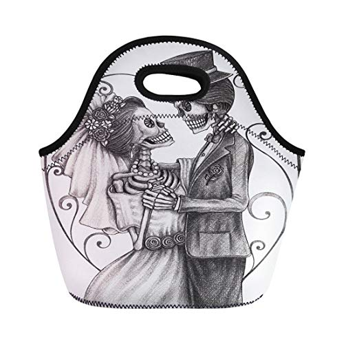 Semtomn Neoprene Lunch Tote Bag Wedding Skull on Halloween Voodoo Drawing Skeleton Tattoo All Reusable Cooler Bags Insulated Thermal Picnic Handbag for Travel,School,Outdoors,Work -
