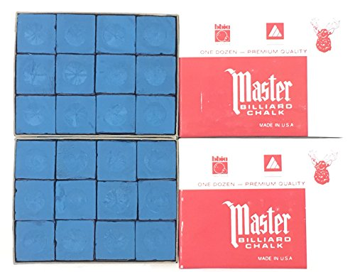 Made in the USA - 2 Boxes of Master Chalk - 24 Pieces for Pool Cues and Billiards Sticks Tips (Blue)