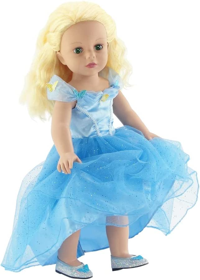 Dress for  Light Blue Dress with Butterfly Decoration Doll Beautiful EJB