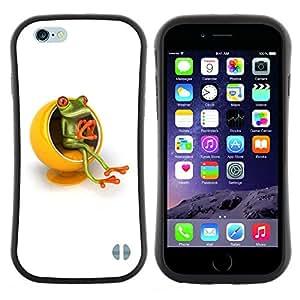 """Hypernova Slim Fit Dual Barniz Protector Caso Case Funda Para Apple (4.7 inches!!!) iPhone 6 / 6S (4.7 INCH) [Amarillo Muebles Pensador Rana Blanca""""]"""