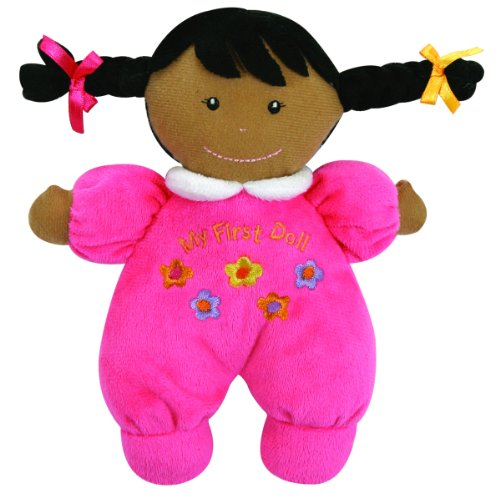 Stephan Baby Ultra Soft Plush My First Doll with Dark Complexion and Black Hair, Hot Pink - Infant Natural Apparel