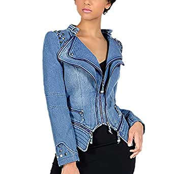 DISSA PA01 Women Faux Leather Biker Jacket Slim Coat Leather Jacket,Blue,S,UK 8