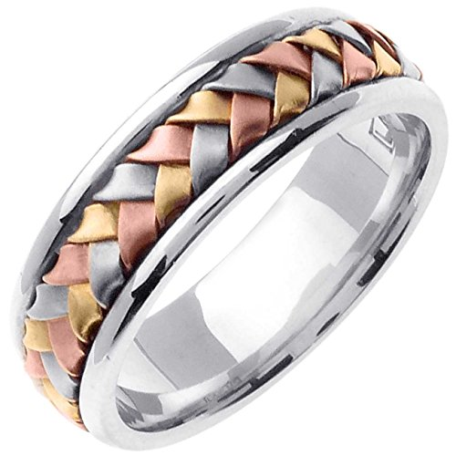 18K Tri Color Gold Braided Basket Weave Women's Comfort Fit Wedding Band (7mm) Size-7c1 - 18k Tri Color Ring