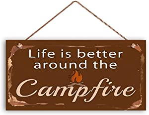 MAIYUAN Camping Sign, Life is Better Around The Campfire, Rustic Decor, Campground Sign, 12x6 Sign, Great Outdoors(XU2490)