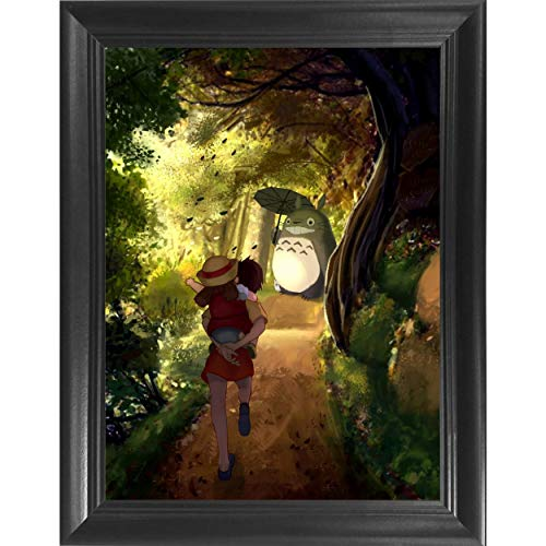 My Neighbor Totoro - Hayao Miyazaki Japanese Anime 3D Poster Wall Art Decor Framed Print | 14.5x18.5 | Lenticular Posters & Pictures | Memorabilia Gifts for Guys & Girls Bedroom - Home Decor Anime