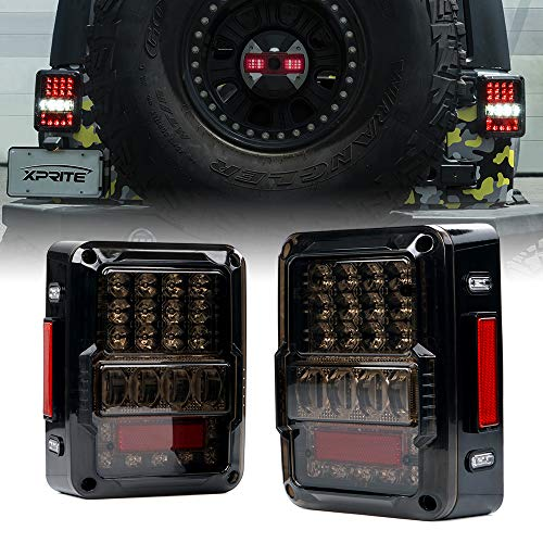 Xprite 4D Smoke Lens LED Tail Lights for 2007-2018 Jeep Wrangler JK JKU, High Intensity Led Taillights w/Parking Light, Brake Turn Signal Lamp and Reverse Lamps Function (DOT Approved)