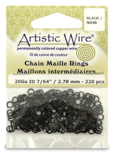 Artistic Wire 20-Gauge Black Chain Maille Rings, 7/64-Inc...