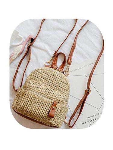 Rattan Vintage (Daniel Pink Bali Vintage Handmade Crossbody Leather Bag Round Straw Beach Bag Girls Circle Rattan Bag Small Bohemian Backpack 2)