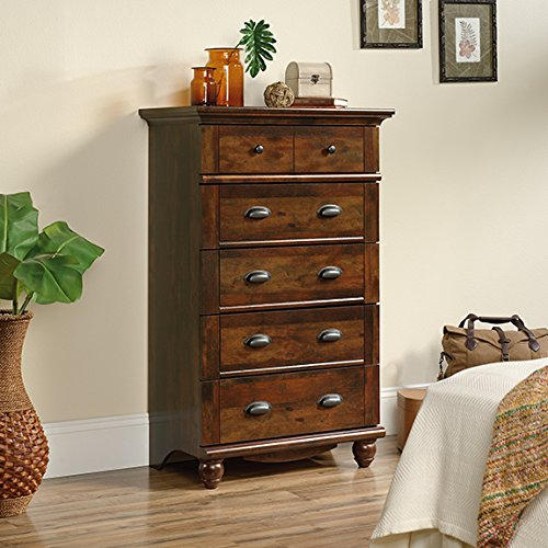 Sauder Harbor View 5 Drawer Chest in Curado Cherry