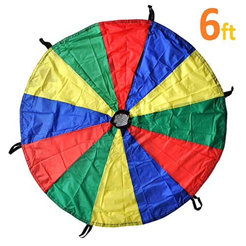 GSI Kids Play Parachute Rainbow Parachute Toy Tent Game for Children Gymnastic Cooperative Play and Outdoor Playground Activities (6 Feet)