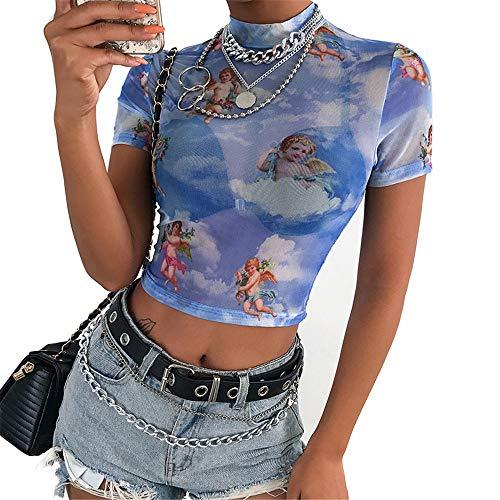 Women Angel Print Short Sleeve Mesh Transparent Bodycon T-Shirt Summer Streetwear Turtleneck Crop Tops (L, Blue)