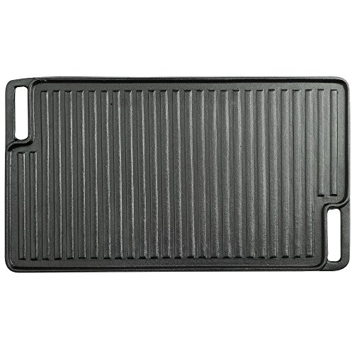 VonShef Black Pre-Seasoned Cast Iron Reversible Griddle Plate & Meat/Bacon Press18 x 10 Inches by VonShef (Image #3)