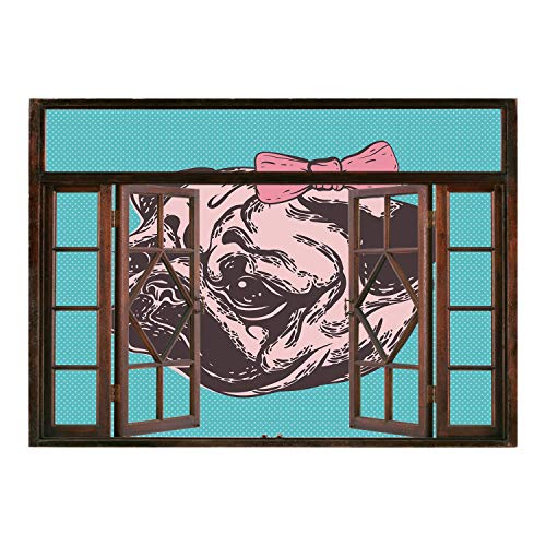 SCOCICI Wall Mural, Removable Sticker, Home Décor/Pug,Blue Background with The Cute Pug and Its Pink Buckle Adorable Animal Design Pet Print Decorative,Blue Pink/Wall Sticker Mural