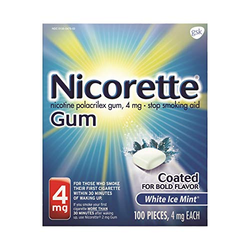 - Nicorette 4mg Coated White Ice Mint - 100 ct, Pack of 6