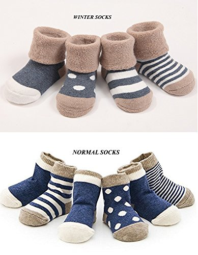 Cuca Dunna Infant Socks Baby Socks Toddler Socks For Girls And Boys,Cute socks 4 Pairs (M 1-3years, Blue)