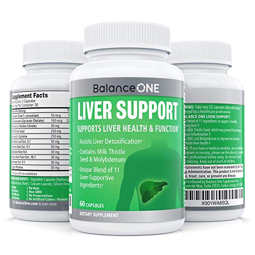 Liver Support by Balance ONE - Natural Liver Cleanse, Improved Energy, Clear Skin - Liver Support Supplement with Milk Thistle, NAC, Molybdenum, Dandelion, Artichoke - 30 Day Supply ()
