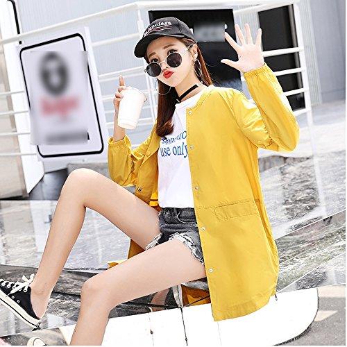 QFFL fangshaifu 女性の長いセクション立っている首輪の刺繍日保護服/シンファッション皮膚にやさしい通気性のカーディガン/抗UV快適な夏日焼け止めショール (色 : イエロー いえろ゜, サイズ さいず : S s)