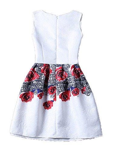 PU&PU Robe Aux femmes Gaine Vintage / Street Chic,Fleur Col Arrondi Au dessus du genou Polyester , red-s , red-s