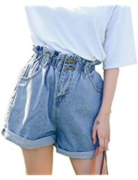 Women's High Waisted Denim Shorts Rolled Blue Jean Shorts