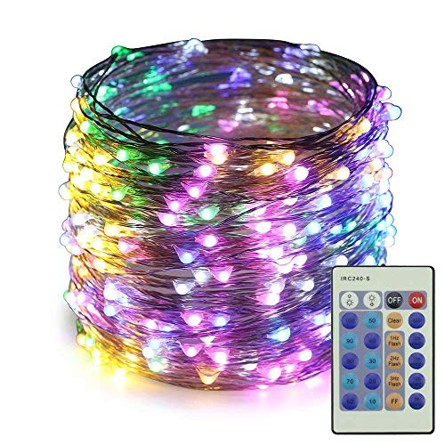 ER CHEN Dimmable LED String Lights,100Ft 300 LEDs Silver Wire Starry String Lights with Remote Control and Adapter For Seasonal Decorative Christmas Holiday, Wedding, Parties(Multicolor) ()