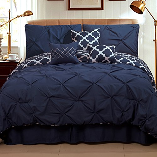Sweet Home Collection 7 Piece Pinch Pleat Decorative Pin tuck Solid To Reversible Lattice Print Fashion Comforter Set, Full/Queen, Navy/White