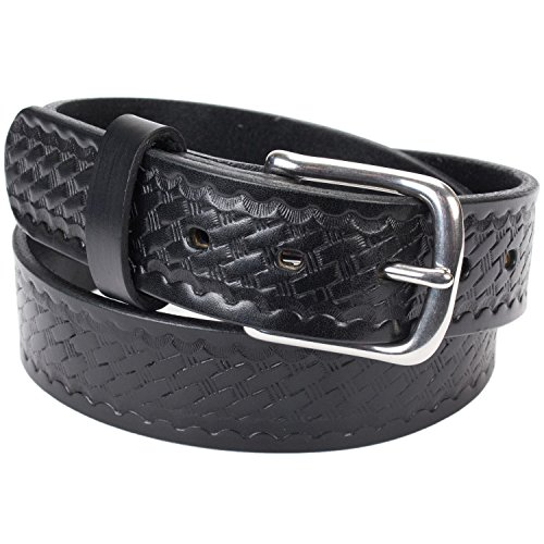 Handmade Basketweave Bridle Leather Belt Extra Thick (Size 38, Black) - Mens Bridle