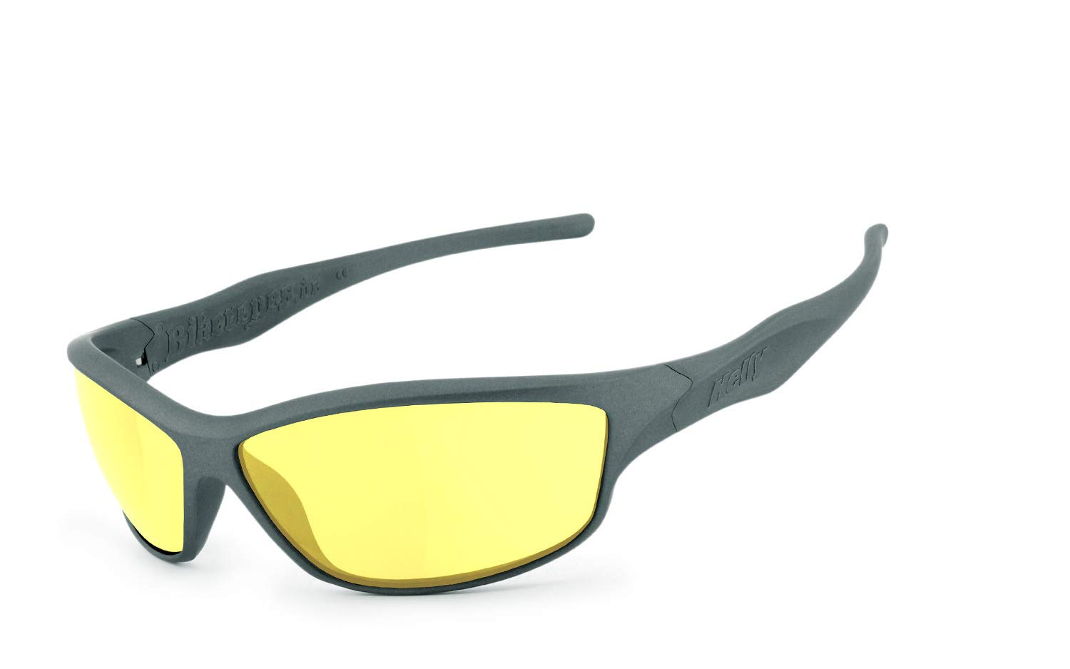 Matte Grey Glasses Helly/® No.1 Bikereyes/® H-FLEX/® Unbreakable UV400 Protective Filter Night Vision HLT/® Plastic Safety Glass in accordance with DIN EN 166 Biker Glasses Frame Fender 2.0