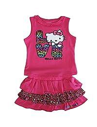 Sanrio Little Girls Fuchsia Animal Pattern Hello Kitty Top Skirt Outfit 4-6X