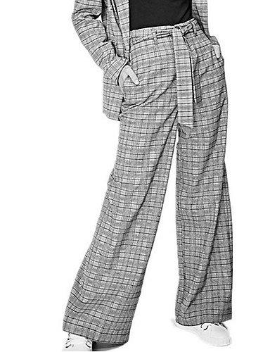 TT&NIUZAIKU Damen Retro Breites Bein Hose Geometrisch Schachbrett, grau, l