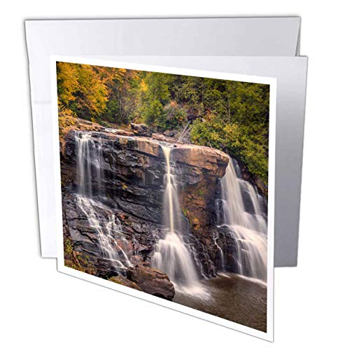 3dRose Danita Delimont - Waterfalls - USA, West Virginia, Blackwater Falls State Park. Waterfall and Forest. - 12 Greeting Cards with envelopes (gc_315212_2)