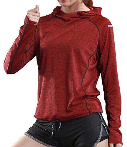 - Rdruko Women's Gym Active Shirts Long Sleeve Hooded Running Sports Tee Tops(Women red, US L)